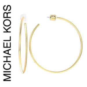 NWT authentic MK gold tone large hoop earrings